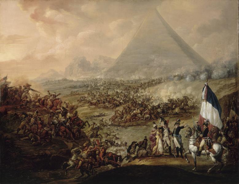 François Watteau, dit Watteau de Lille, La bataille des Pyramides, huile sur toile, 94 x 1204 cm, Valenciennes, musée des Beaux.png